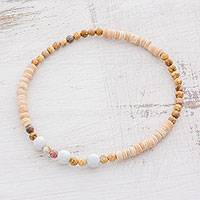 Jade and jasper beaded stretch anklet, 'Sand Dunes' - White Jade Jasper and Coconut Shell Beaded Anklet