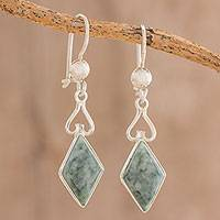 Jade dangle earrings, 'Marvelous Green Diamonds' - Diamond-Shaped Jade Dangle Earrings in Green from Guatemala