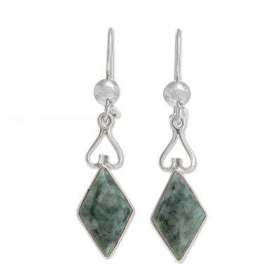 Diamond-Shaped Jade Dangle Earrings in Green from Guatemala