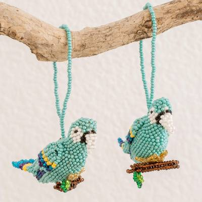 Glass beaded ornaments, 'Blue Macaws' (pair) - Glass Beaded Blue Macaw Ornaments from Guatemala (Pair)