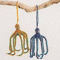 Glass beaded ornaments, 'Marine Beauty' (pair) - Hand-Beaded Glass Octopus Ornaments from Guatemala (Pair)