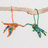 Glass beaded ornaments, 'Colorful Dragonflies' (pair) - Guatemalan Glass Beaded Dragonfly Ornaments (Pair)