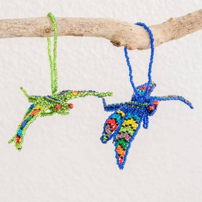 Glass beaded ornaments, 'Free Flight' (pair) - Hand-Beaded Glass Dragonfly Ornaments from Guatemala (Pair)