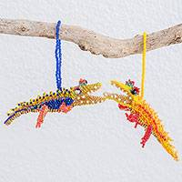 Glass beaded ornaments, 'Colorful Crocodiles' (pair) - Colorful Guatemalan Glass Beaded Crocodile Ornaments (Pair)