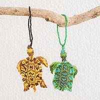 Glass beaded ornaments, 'Colorful Sea Turtles' (pair) - Glass Beaded Sea Turtle Ornaments from Guatemala (Pair)