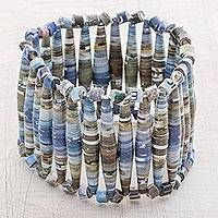 Recycled paper beaded stretch bracelet, 'Abstract Illusion' - Recycled Paper Beaded Stretch Bracelet in Blue
