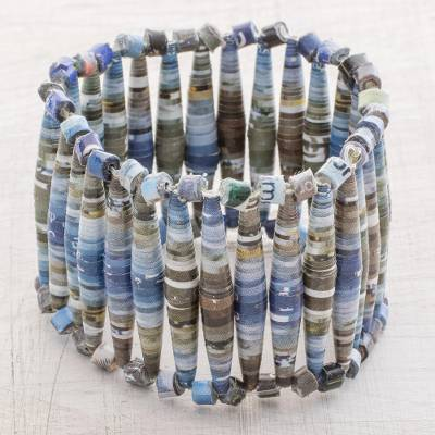 Recycled paper beaded stretch bracelet, Abstract Illusion