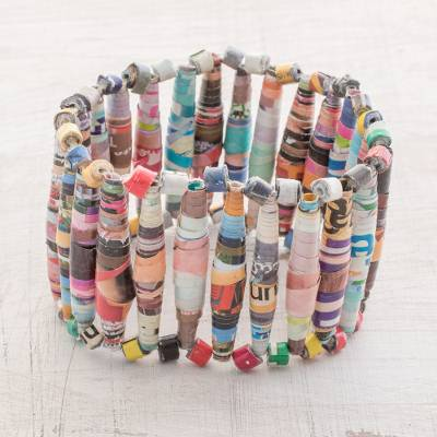 Recycled paper beaded stretch bracelet, 'Happiness of Color' - Handmade Recycled Paper Beaded Stretch Bracelet