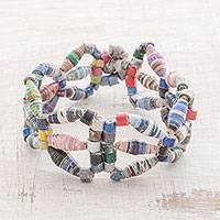 Recycled paper beaded bracelet, 'Colorful Chain' - Recycled Paper Beaded Bracelet from Guatemala