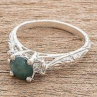 Jade solitaire ring, 'Antiguity' - Blue Jade Solitaire Ring from Guatemala