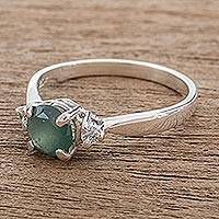 Jade solitaire ring, 'Age-Old Beauty' - Green Jade Solitaire Ring from Guatemala