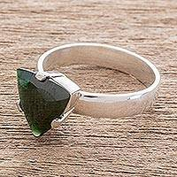 Jade solitaire ring, 'Verdant Triad' - Triangular Jade Solitaire Ring from Guatemala