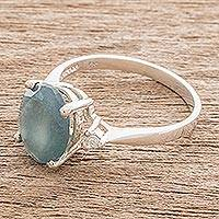 Jade solitaire ring, 'Glittering Oval' - Oval Blue Jade Solitaire Ring from Guatemala