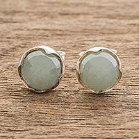 Jade stud earrings, 'Reflection of the Green Moon' - Jade Stud Earrings Crafted in Guatemala
