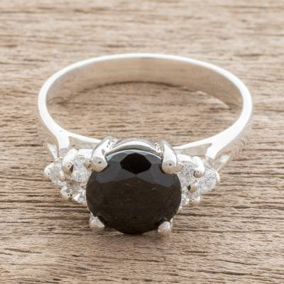 Jade solitaire ring, 'Nocturnal Delight' - Black Jade Solitaire Ring from Guatemala