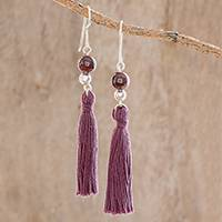 Garnet dangle earrings, 'Burgundy Illusion' - Tasseled Garnet Dangle Earrings from Guatemala