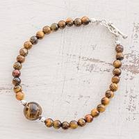 Tiger's eye beaded bracelet, 'Virtuous Earth' - Tiger's Eye Beaded Bracelet from Guatemala