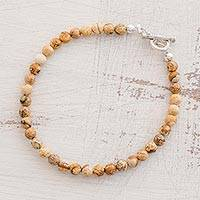 Jasper beaded bracelet, 'Earthen Globes' - Jasper Beaded Bracelet from Guatemala