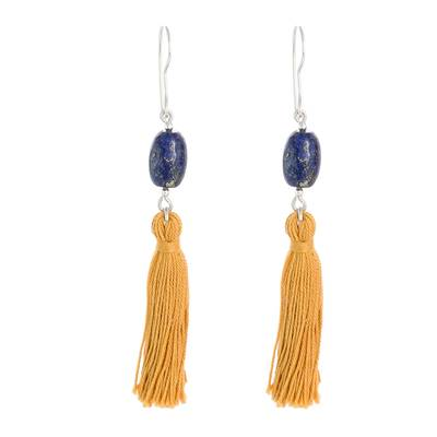 Tasseled Lapis Lazuli Dangle Earrings from Guatemala
