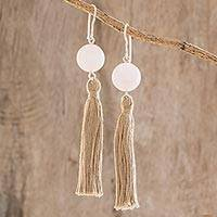 Rose quartz dangle earrings, 'Eternal Purity' - Tasseled Rose Quartz Dangle Earrings from Guatemala
