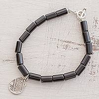 Onyx beaded charm bracelet, 'Royal Mint Coin' - Onyx Beaded Bracelet with Coin Charm from Guatemala
