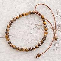 Tiger's eye beaded bracelet, 'Earthen Sweetness' - Adjustable Tiger's Eye Beaded Bracelet from Guatemala