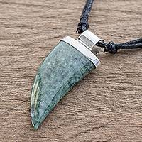 Jade pendant necklace, 'Wide Tusk in Green' - Green Jade Tusk Pendant Necklace from Guatemala