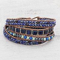 Glass beaded wrap bracelet, 'Blue Clarity' - Glass Beaded Wrap Bracelet in Blue from Guatemala