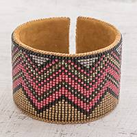 Glass beaded cuff bracelet, 'Chichicastenango Zigzags' - Zigzag Motif Glass Beaded Cuff Bracelet from Guatemala