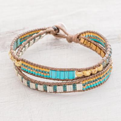 Glass beaded wristband bracelet, 'Path to Solola' - Glass Beaded Wristband Bracelet Crafted in Guatemala