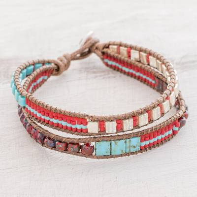 Glass beaded wristband bracelet, 'Colorful Party' - Colorful Glass Beaded Wristband Bracelet from Guatemala