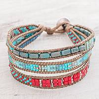 Glass beaded wristband bracelet, 'Atitlan Path'