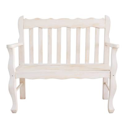 Awesome Distressed White Pinewood Bench Crafted In Guatemala Casual Relaxation Machost Co Dining Chair Design Ideas Machostcouk