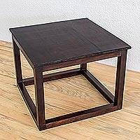Wood accent table, 'Family Time' - Modern Square Wood Accent Table from Guatemala