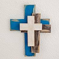 Wood wall cross, 'Trinity' - Handmade Trinity Wall Cross Crafted in Guatemala