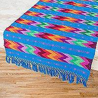 Cotton table runner, 'Vivid Waves in Blue' - Handwoven Colorful Zigzag Stripe on Blue Cotton Table Runner