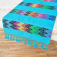 Cotton table runner, 'Vivid Stripe in Turquoise' - Handwoven Colorful Zigzag on Turquoise Cotton Table Runner