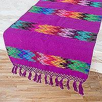Cotton table runner, 'Vivid Stripe in Purple' - Handwoven Colorful Zigzag on Purple Cotton Table Runner