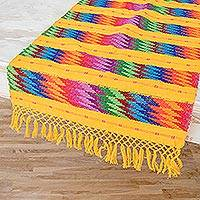 Cotton table runner, 'Vivid Waves in Yellow' - Handwoven Colorful Zigzag on Yellow Cotton Table Runner