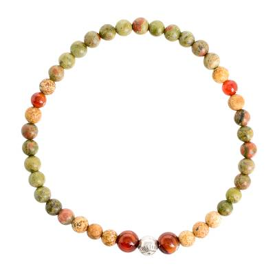 Multi-Gemstone Beaded Stretch Bracelet from Guatemala