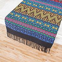 Cotton table runner, 'Bright Night' - Handwoven Cotton Table Runner with Zigzag Patterns
