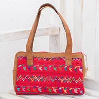 Cotton shoulder bag, 'Colors of Comalapa' - Handwoven Cotton and Faux Suede Guatemalan Shoulder Bag