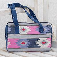Cotton shoulder bag, 'Pastel Geometry' - Handwoven Geometric Cotton Shoulder Bag from Guatemala
