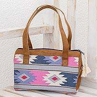 Cotton handbag, 'Pastel Geometry' - Handwoven Cotton Handbag with Geometric Motifs