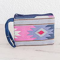 Cotton wristlet, 'Pastel Geometry' - Handwoven Geometric Cotton Wristlet from Guatemala