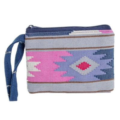 Handwoven Geometric Cotton Coin Purse from Guatemala
