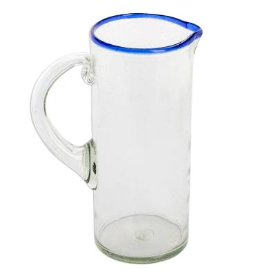 Handblown Recycled Glass Cylindrical Pitcher with Blue Rim
