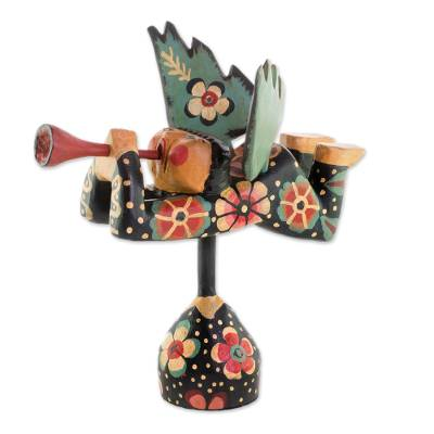 Wood sculpture, 'Heralding Angel' - Handcrafted Multi-Color Trumpeting Wood Angel Sculpture