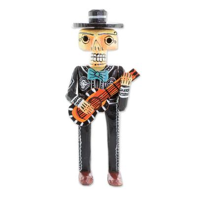 Wood statuette, 'Mariachi de los Muertos' - Day of the Dead Mariachi with Guitar Wood Statuette