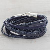 Faux leather wrap bracelet, 'Elegant Style in Blue' - Blue Braided Faux Leather Wrap Bracelet from Guatemala